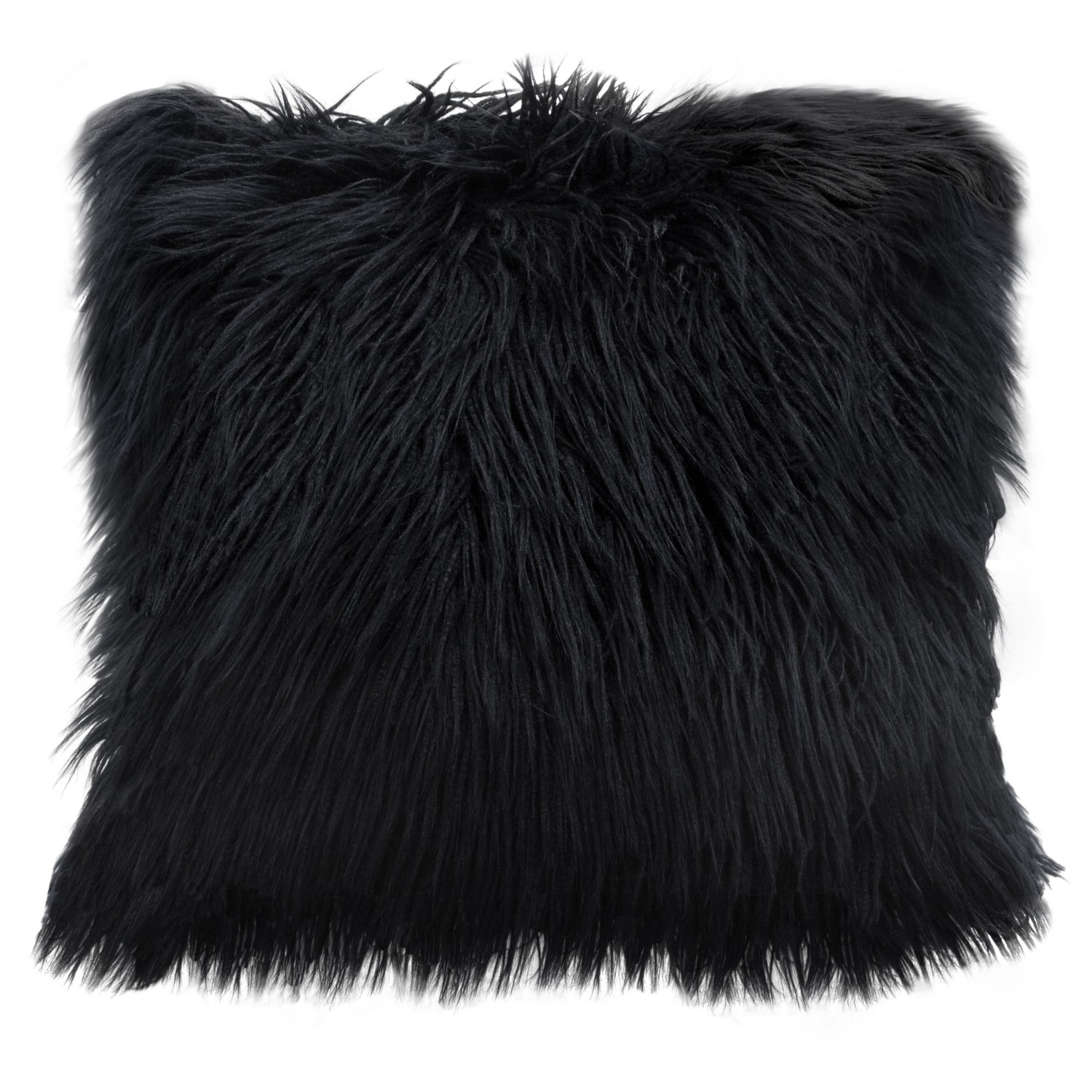 """Diamond Sofa Dual-Sided Faux Fur Square Accent Pillow in Black Ombre - 18"""""""