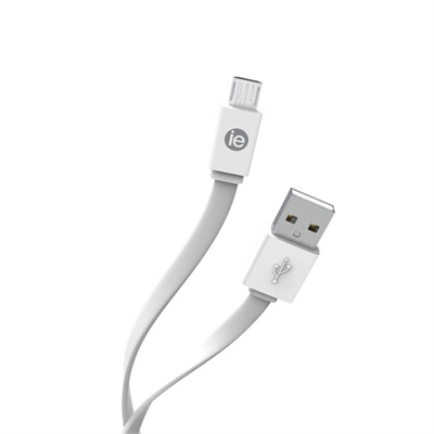 4ft USB Micro Flat Cable White