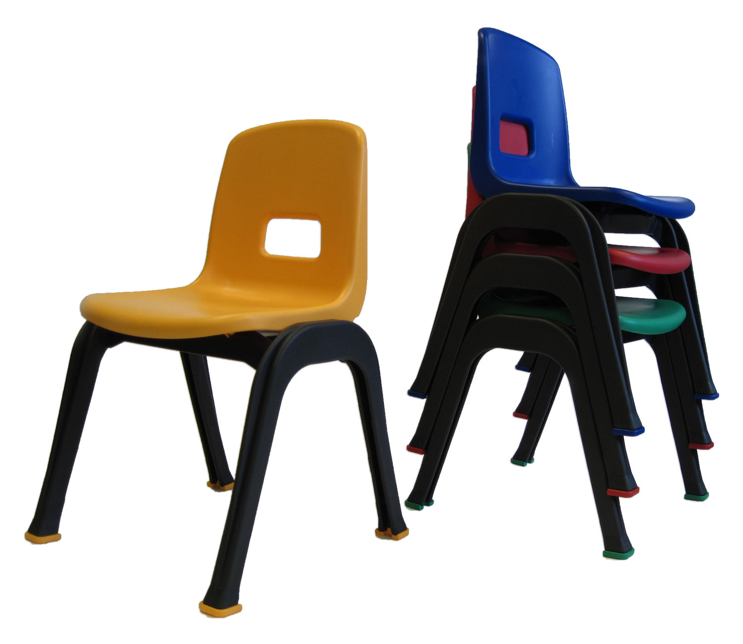 "Drake Corp D130 set of 4 Kid chair, 12"", multicolor, gray frames, one blue, one red, one yellow, one green seats, recommended fo"