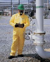DuPont+ 3X Yellow Tychem+ QC Chemical Protection Coveralls With Serged Seams, Storm Flap Over Front Zipper Closure, Elastic Wris