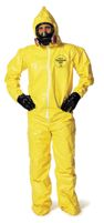 DuPont+ 2X Yellow Tychem+ QC Chemical Protection Coveralls With Serged Seams, Front Zipper Closure, Attached Hood, Attached Sock