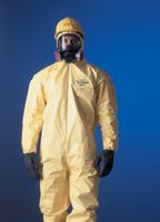 DuPont+ 3X Yellow Tychem+ QC Chemical Protection Coveralls With Serged Seams, Front Zipper Closure, Attached Hood, Elastic Face,