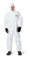 DuPont+ 2X White Tychem+ SL Chemical Protection Coveralls With Bound Seams, Storm Flap Over Front Zipper Closure, Attached Hood,