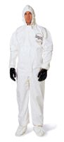 DuPont+ Large White Tychem+ SL Chemical Protection Coveralls With Bound Seams, Storm Flap Over Front Zipper Closure, Attached Ho