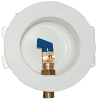 Eastman 60237 Round Mini Ice Maker Outlet Box, 1/2 in Sweat Inlet, 6-1/8 in Dia Faceplate 1/4 Quarter Turn Ball Valve