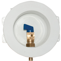 Eastman 60238 Round Mini Ice Maker Outlet Box, 1/2 in Pex Inlet, 6-1/8 in Dia Faceplate 1/4 Quarter Turn Ball Valve