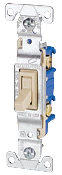 Cooper 1301V Framed Non-Grounded Toggle Switch, 120 VAC, 15 A, 1 P, Ivory