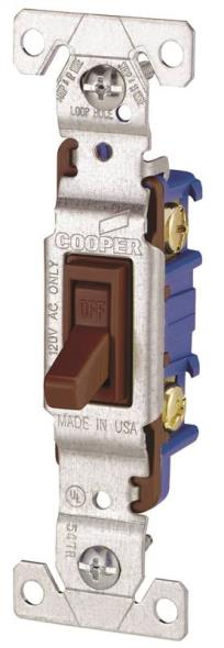 Cooper 1301B Framed Non-Grounded Toggle Switch, 120 VAC, 15 A, 1 P, Brown