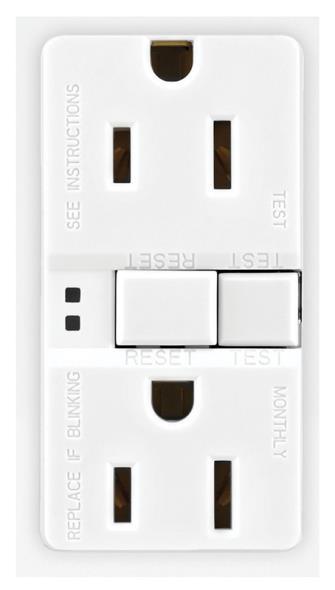 Arrow Hart SGF15W Duplex GFCI Receptacle, 125 VAC, 15 A, 2 Pole, 3 Wire, White