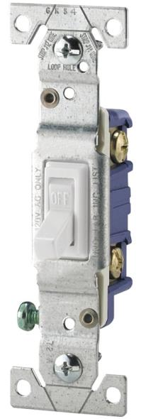 Cooper 1301-7W Framed Grounding Toggle Switch, 120 VAC, 15 A, 1 Pole, White