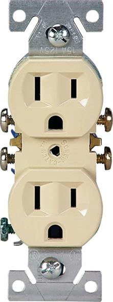 Cooper 270V Grounded Straight Blade Duplex Receptacle, 125 V, 15 A, 2 Pole, 3 Wire