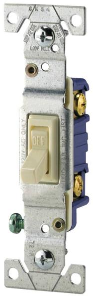 Cooper 1301-7V Framed Grounding Toggle Switch, 120 VAC, 15 A, 1 Pole