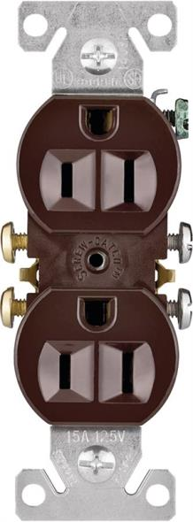 Cooper 270B Grounded Straight Blade Duplex Receptacle, 125 V, 15 A, 2 Pole, 3 Wire