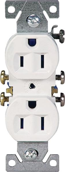 Cooper 270W Grounded Straight Blade Duplex Receptacle, 125 V, 15 A, 2 Pole