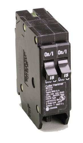 BR SERIES 1 POLE DUPLEX BREAKER TWO 15 AMPS
