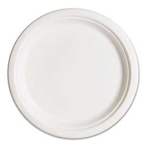 """Compostable Sugarcane Dinnerware, 10"""" Plate, Natural White, 50/Pack"""