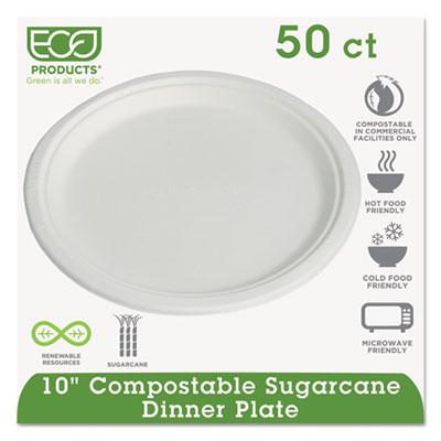 "Compostable Sugarcane Dinnerware, 10"" Plate, Natural White, 50/Pack, 10 Pk/Ctn"
