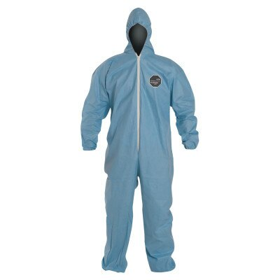 Tempro Elastic-Cuff Hooded Coveralls, Blue, 3X-Large, 25/Carton
