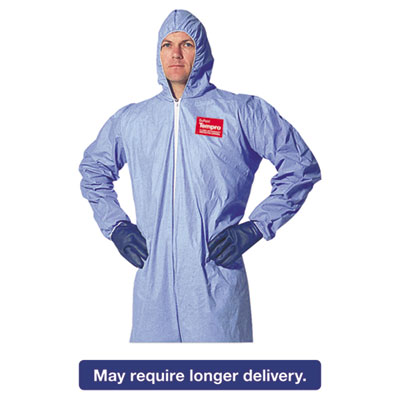 Tempro Elastic-Cuff Hooded Coveralls, Blue, X-Large, 25/Carton