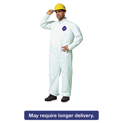 Tyvek Coveralls, Open Wrist/Ankle, HD Polyethylene, White, Large, 25/Carton