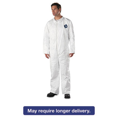 Tyvek Coveralls, Open Wrist/Ankle, HD Polyethylene, White, X-Large, 25/Carton