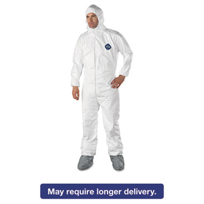 Tyvek Elastic-Cuff Hooded Coveralls w/Boots, White, X-Large, 25/Carton