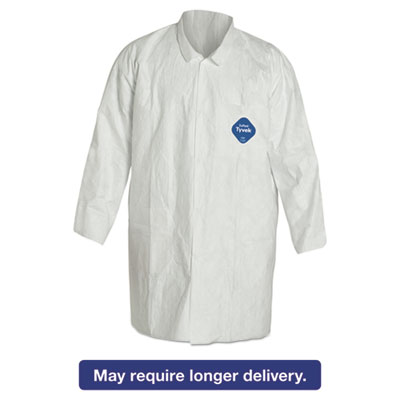 Tyvek Lab Coat, White, Snap Front, 2 Pockets, Medium, 30/Carton
