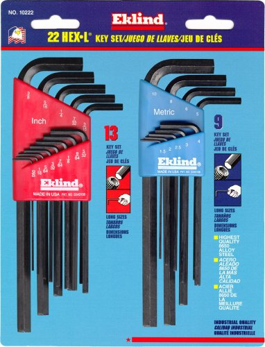 Eklind 10222 Combo Long Hex-L Key Set, 22 Pieces, 2.8 - 6.8 in L Arm, L-Shape Handle