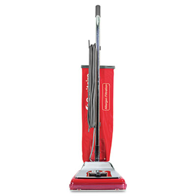 TRADITION Bagged Upright Vacuum, 7 Amp, 17.5 lb, Chrome/Red