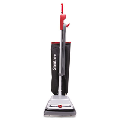 TRADITION QuietClean Upright Vacuum, 18 lb, Gray/Red/Black