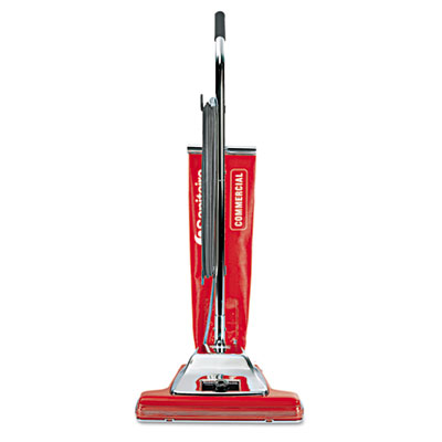 "TRADITION Bagless Upright Vacuum, 16"" Wide Path, 18.5 lb, Red"