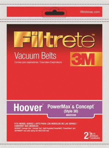 3M Filtrete Hoover PowerMax and Concept (Style 30) Vacuum Belt, 2 Pack