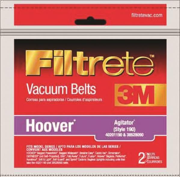 Filtrete 64190A-12 Agitator Type 190 Vacuum Cleaner Belt, Clear