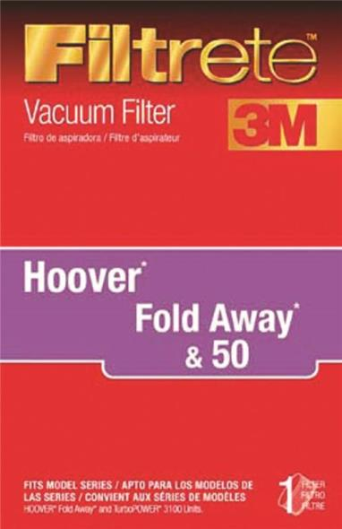 Filtrete 64801A-2 Vacuum Cleaner Filter, For Use With Hoover Foldaway and TurboPower 3100 Units Vacuum Cleaner