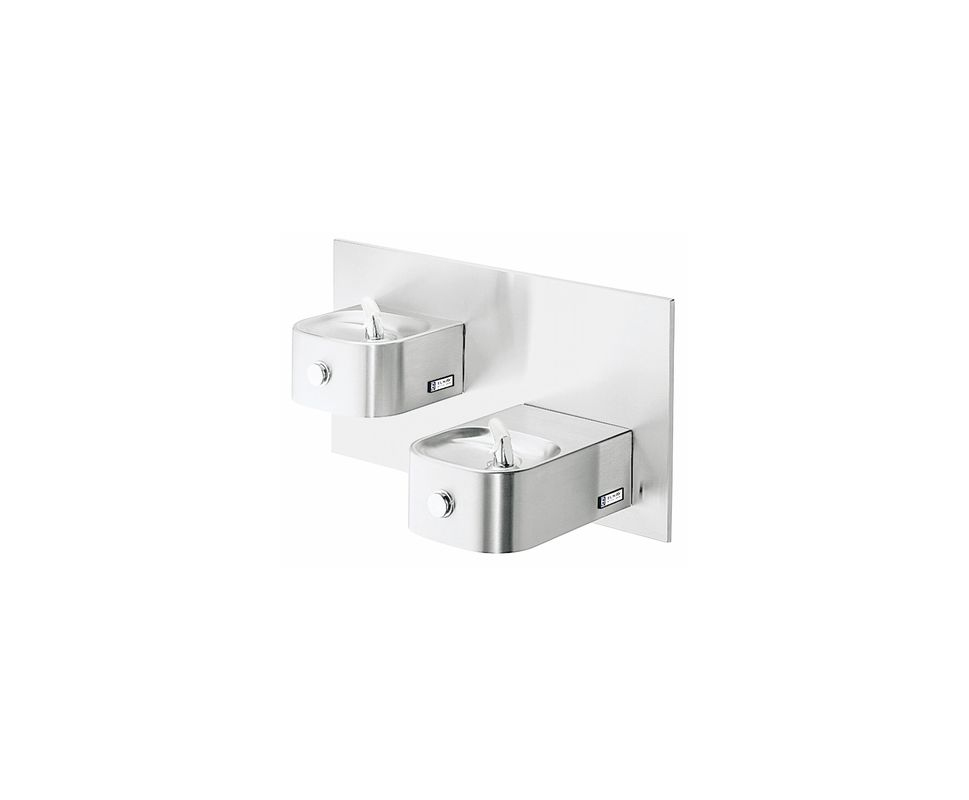 Lead Law Compliant Wall Mount Dual Level Drinking Fountain Stainless Steel ADA