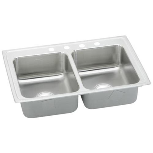 43 X 22 Three Hole Double Bowl Stainless Steel Sink Lustertone