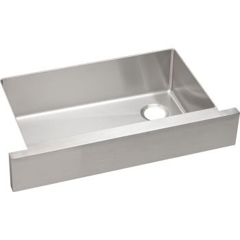 CROSSTOWN Large Single Band Apron Front Undercounter SINK Stainless Steel
