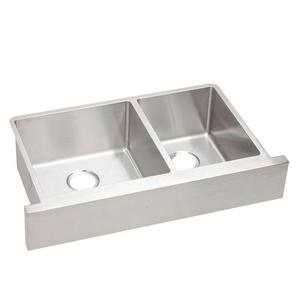 Crosstown Overall Size Double Bowl Apron Front Undercounter Sink Stainless Steel