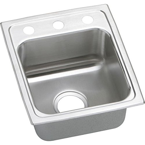 "15"" x17"" x 6"" 3 Hole 1 Bowl ADA Stainless Steel Sink"