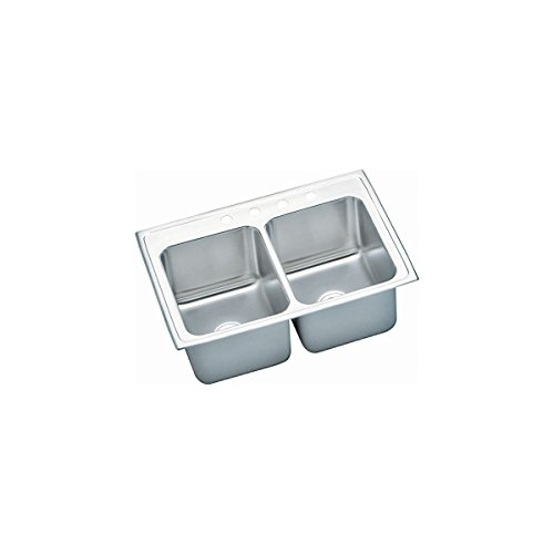 33 X 22 Three Hole Double Bowl Deep Stainless Steel Sink Lustertone