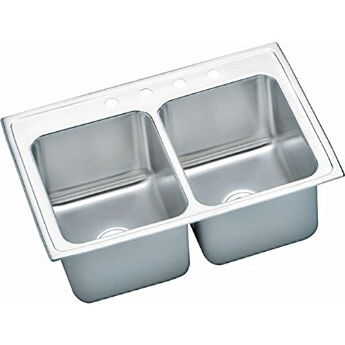 33 X 22 4 Hole Double Bowl Deep Stainless Steel SINK Lustertone