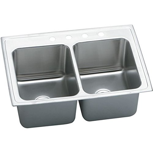 33 X 22 Three Hole Double Bowl Deep Sink Lustertone Stainless Steel