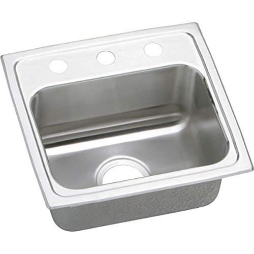 "Lustertone 17"" x 16"" 1 Bowl 3 Hole Self-Rimming Stainless Steel Kitchen Sink"