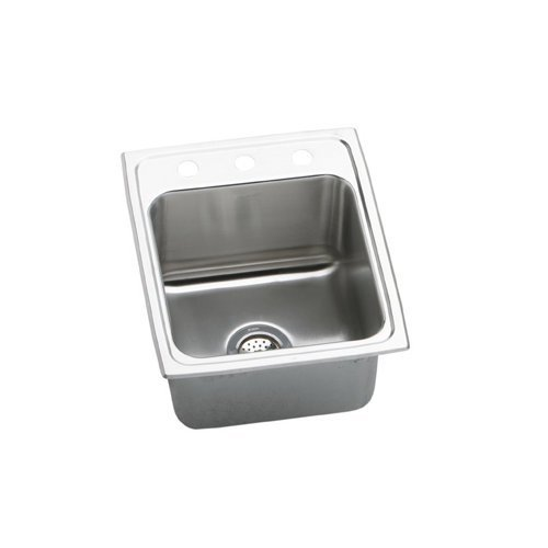 "Lustertone 17"" x 20"" 3 Hole 1 Bowl Stainless Steel Self-Rimming Kitchen Sink"