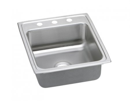 "20"" x 22"" x 5-1/2"" 3 Hole 1 Bowl ADA Stainless Steel Sink"