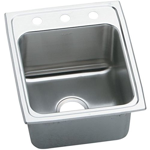 "Lustertone 17"" x 22"" 3 Hole 1 Bowl Deep Stainless Steel Sink"