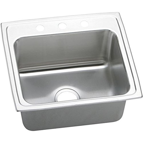 "22"" x 19"" 2 Hole 1 Bowl Deep Sink Lustertone Stainless Steel"