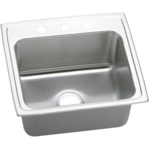 """22"""" x 19"""" 10 3 Hole 1 Bowl Sink Stainless Steel"""
