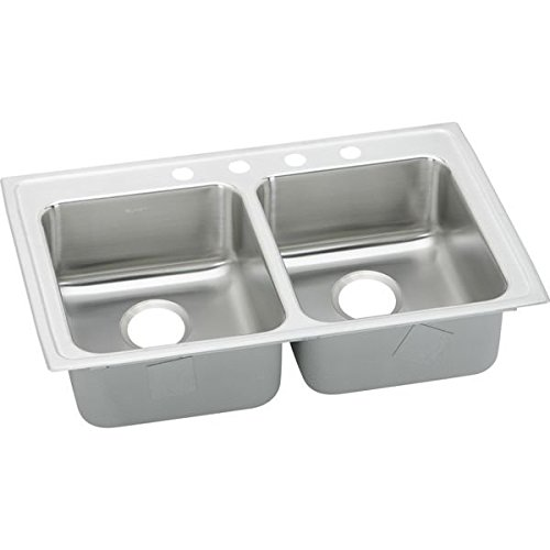 33 X 19 Three Hole Double Bowl ADA Sink Stainless Steel
