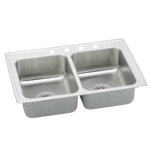 33X21X5-1/2 Three Hole Double Bowl ADA Stainless Steel Sink